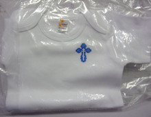 Onesie- White Onesie with Blue Budded Cross (size 0-3 months)