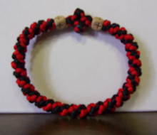 Prayer Rope- Black & Red with Wood Beads