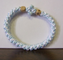 Prayer Rope- 33 Knot Pale Blue & White Prayer Rope with Wood Beads