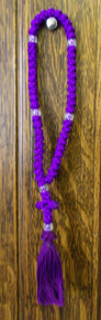 Prayer Rope- 50 Knot Purple Prayer Rope with Clear Beads