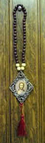 Icon- Reversible icon of Virgin of Kazan & Christ The Teacher with red tassel