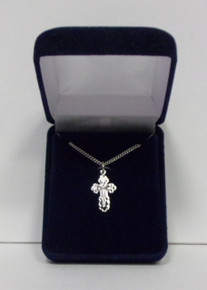Jewelry- Sterling Silver Budded Cross Necklace