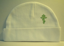 Hat- White Beanie with Green 3 Bar Cross for Baby