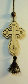 Cross- Small Wooden Budded Cross on Brown Rope