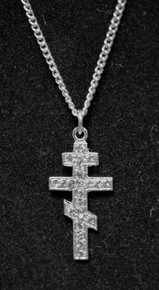 "3-Bar Cross with Stones 18"" Necklace - Sterling Silver"