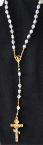 Clear Beaded Rosary with Gold 3-Bar Cross
