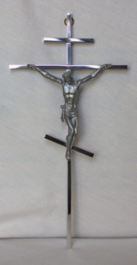 3-Bar Silver Cross with Crucifix