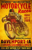 21st Annual 2009 Davenport Motorcycle Races Poster