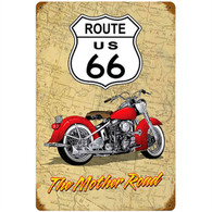Route 66 'The Mother Road' Motorcycle Metal Sign
