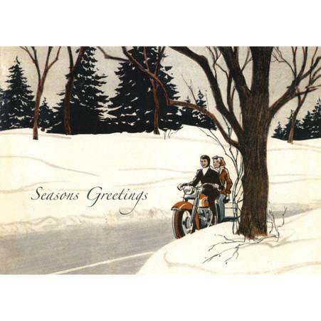 Couple on Bike Christmas Postcard