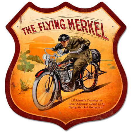 'Flying Merkel' Motorcycle Shield Metal Sign