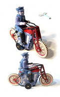 Postman on Motorcycle Tin Toy