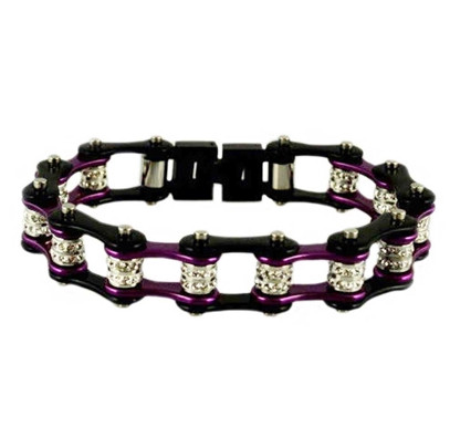 Stainless Steel, Double Crystal, Two Tone Purple on Black Bike Chain Bracelet