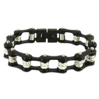 Stainless Steel, Double Crystal, Black Bike Chain Bracelet