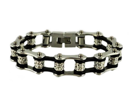 Stainless Steel, Double Crystal, Two Tone Silver on Black Bike Chain Bracelet