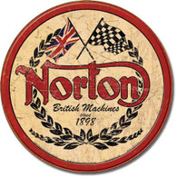 Round Norton British Machines Tin Sign