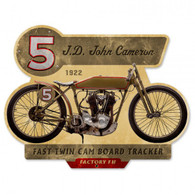 JD John Cameron 1922 Fast Twin Cam Board Tracker Metal Sign