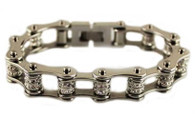 Stainless Steel, Double Crystal, Bike Chain Bracelet