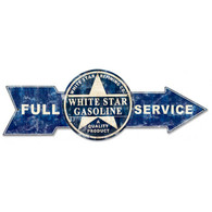 Full Service White Star Gasoline Arrow Metal Sign