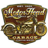 'Motor Head Garage' Motorcycle Metal Sign