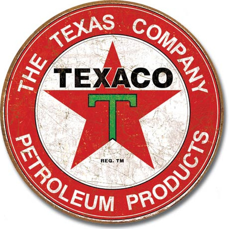 Texaco Star Petroleum Products Round Metal Sign