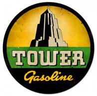 Tower Gasoline Round Metal Sign