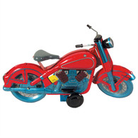 Wind Up Big Red Old Time Motorcycle Tin Toy