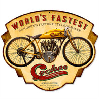 Cyclone 'World's Fastest' Motorcycle Metal Sign