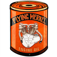 'Flying Merkel' Oil Can Motorcycle Metal Sign