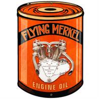 'Flying Merkel' Oil Can Motorcycle Metal Sign