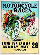 1933 Peoria Motorcycle Races Poster