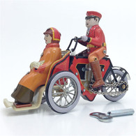 Wind Up Tin Old Fashioned Tricycle Taxi