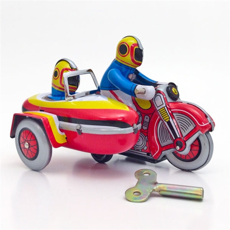 Wind-Up Motorcycle with Sidecar