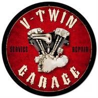 'V-Twin Garage' Metal Sign