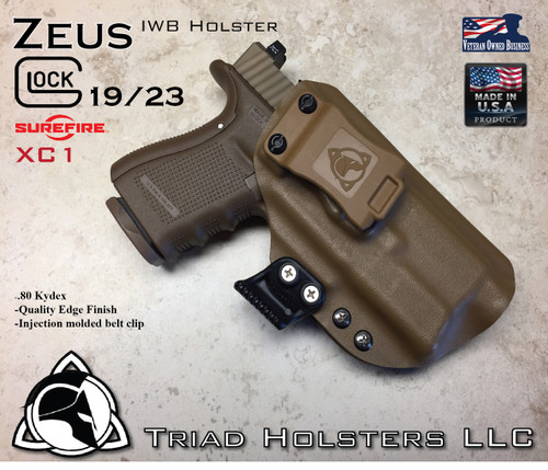 "ARES Holster shown for the Glock 23 equipped with the Surefire XC1 weapon mounted light, Right Hand Draw, in Coyote Tan, with Coyote Tan Enhanced Triad Spartan 1.5"" Clip, Zero Cant Angle"