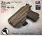 "ARES Holster shown for the Glock 23 equipped with the Surefire XC1 weapon mounted light, Right Hand Draw, in Coyote Tan, with Coyote Tan Enhanced Triad Spartan 1.5"" Clip, Zero Cant Angle."