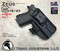 "ARES Holster shown for the Glock 23 equipped with the Surefire XC1 weapon mounted light, Right Hand Draw, in Tactical Black, with Black Enhanced Triad Spartan 1.5"" Clip, Zero Cant Angle"