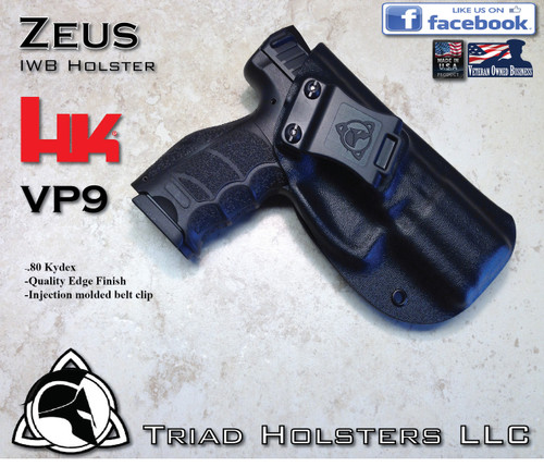 """ZEUS Holster shown for the HK VP9, Right Hand, in Tactical Black, with Enhanced Triad Spartan 1.5"""" Clip, 15 Degree Forward Cant angle"""