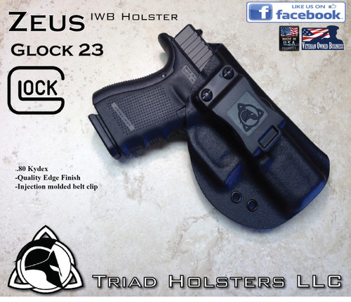 """ZEUS Holster shown for the Glock 23, Right Hand Draw, in Tactical Black, with Black Enhanced Triad Spartan 1.5"""" Clip, Zero Cant Angle."""
