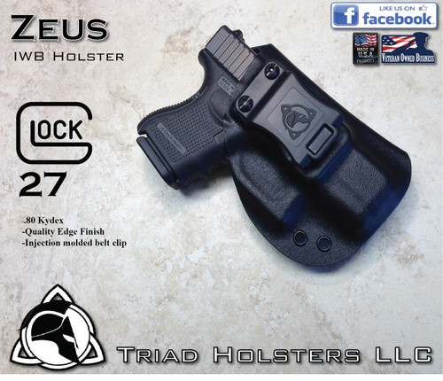 "ZEUS Holster shown for the Glock 27, Right Hand, in Tactical Black, with 1.5"" Clip, Zero Cant Angle, with Enhanced Triad Spartan Belt Clip."