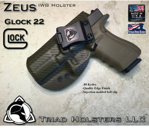 """ZEUS Holster shown for the Glock 22, Left Hand, in Olive Drab Carbon Fiber, with Black Enhanced Triad Spartan Logo 1.5"""" Belt Clip, 15 Degree Cant Angle."""