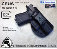 "ZEUS Holster shown for the Glock 19, Right Hand Draw, in Tactical Black, with Black Enhanced Triad Spartan 1.5"" Clip, Zero Cant Angle."