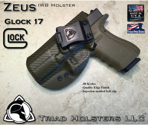 """ZEUS Holster shown for the Glock 17, Left Hand, in Olive Drab Carbon Fiber, with Black Enhanced Triad Spartan Logo 1.5"""" Belt Clip, 15 Degree Cant Angle."""