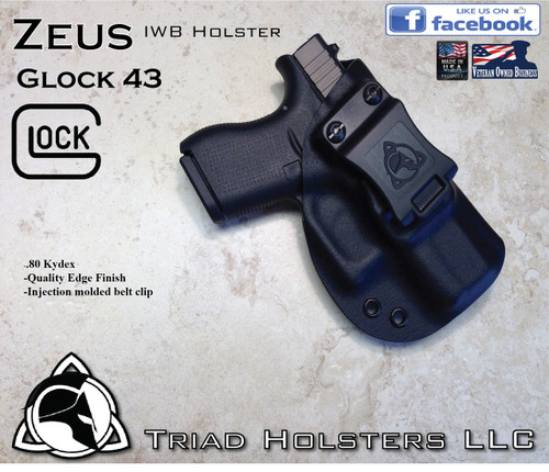 """ZEUS Holster shown for the Glock 43, Right Hand Draw, in Tactical Black, with Black Enhanced Triad Spartan 1.5"""" Clip, Zero Cant Angle."""