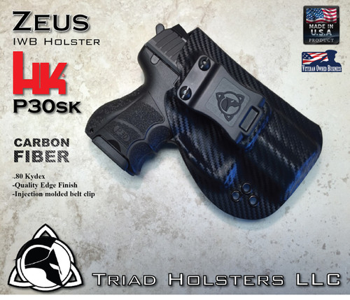 "ZEUS Holster shown for the HK P30SK, Right Hand Draw, in Carbon Fiber, with Black Enhanced Triad Spartan 1.5"" Clip, Zero Cant Angle."