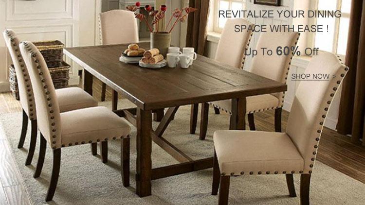 Rustic Walnut Dining Table Set