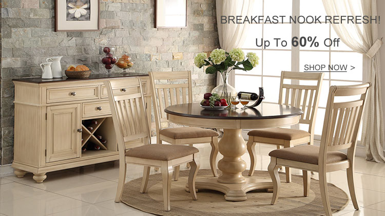 White Brown Cherry Dining Table Set