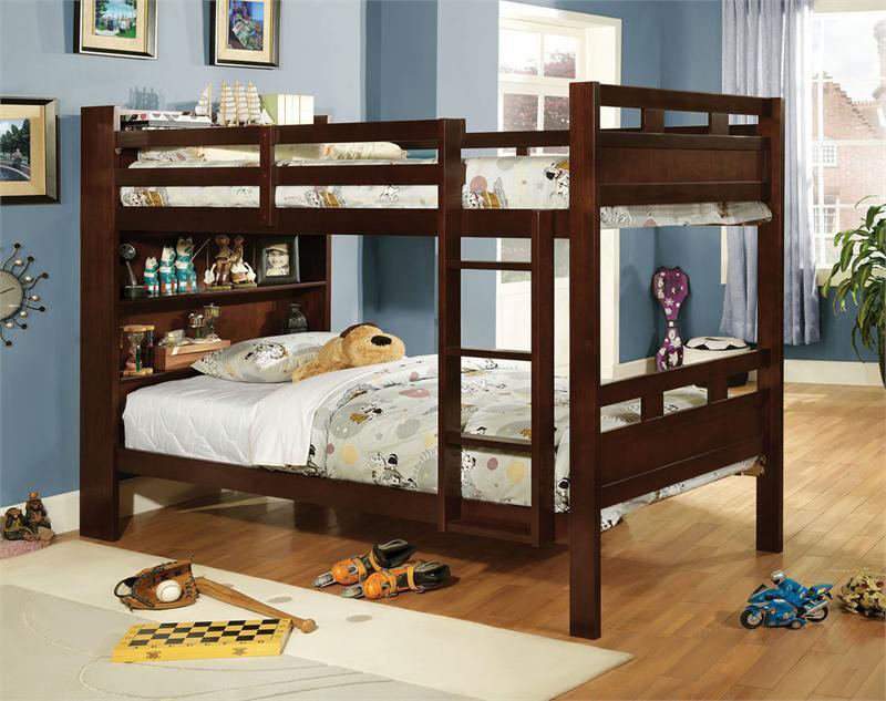 Bookcase Twin Bunk Bed for Kids