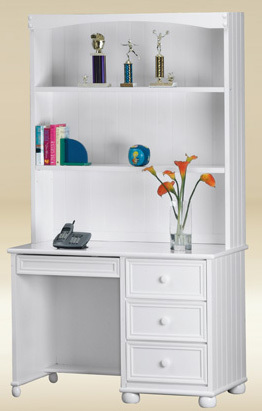 Kids White Desk with Drawers & Hutch