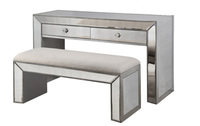 Silver Mirrored Dressing Table Set